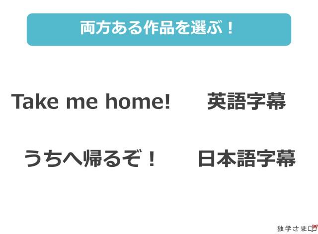 まずは英語字幕と日本語字幕の2つがある好きな作品を選ぶ