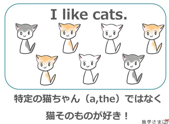 猫が好き!という場合は『無冠詞』
