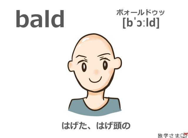英単語『bald』イラスト・意味