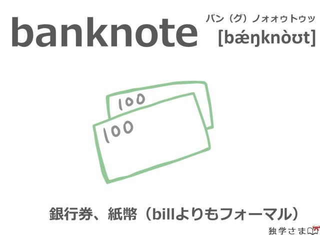 英単語『banknote』イラスト・意味
