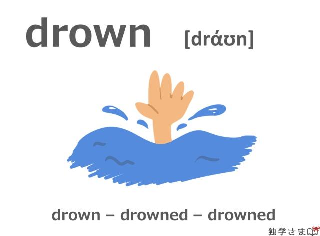 英単語『drown』イラスト