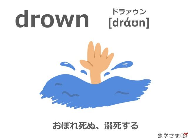 英単語『drown』イラスト・意味