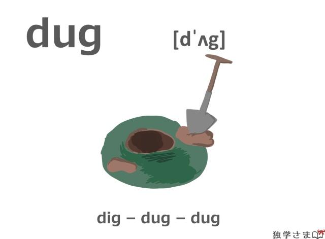 英単語『dug(dig)』イラスト