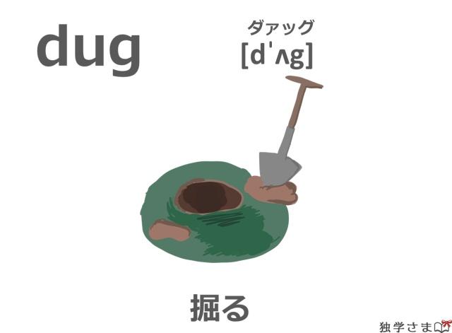 英単語『dug』イラスト・意味