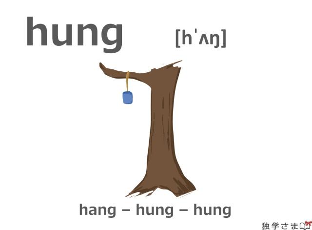 英単語『hung(hang)』イラスト