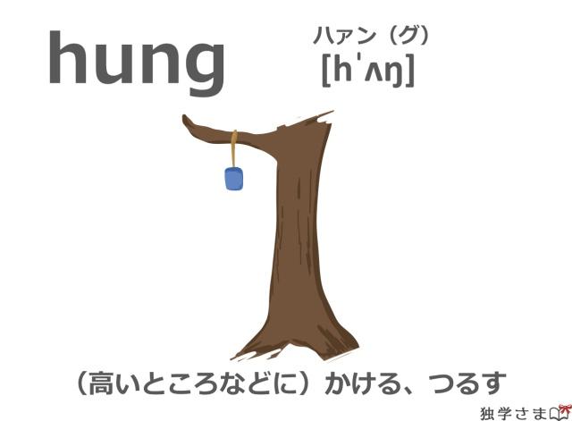 英単語『hung(hang)』イラスト・意味
