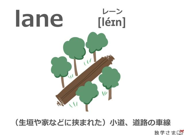 英単語『lane』イラスト・意味