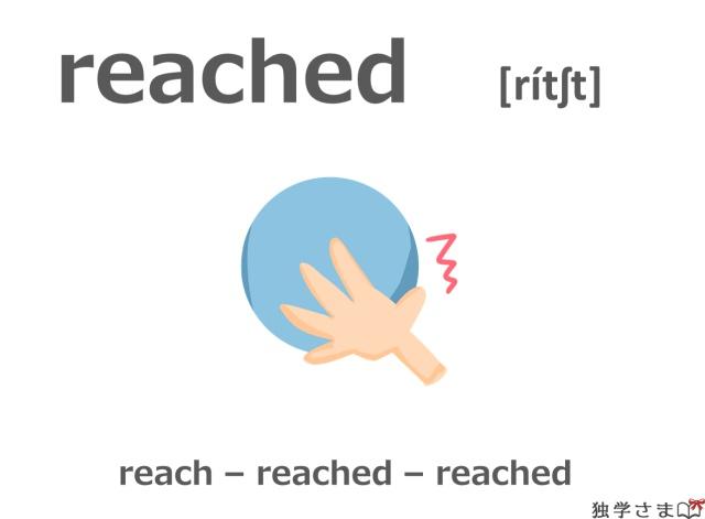 英単語『reached(reach)』イラスト