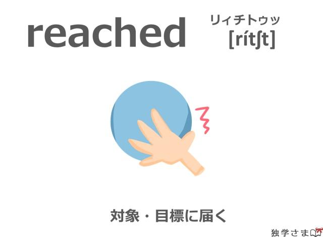 英単語『reached(reach)』イラスト・意味