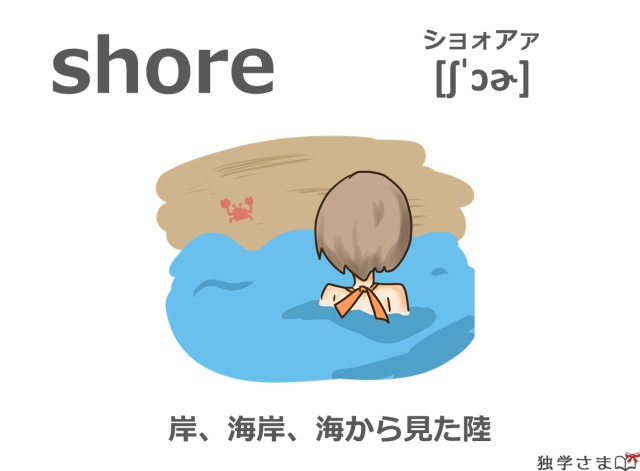 英単語『shore』イラスト・意味