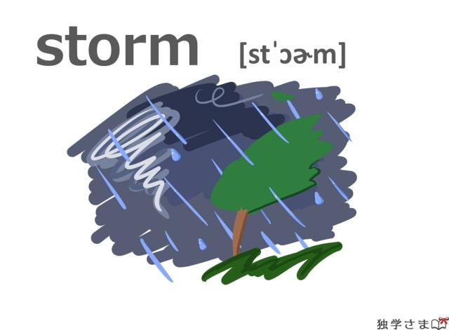 英単語『storm』イラスト