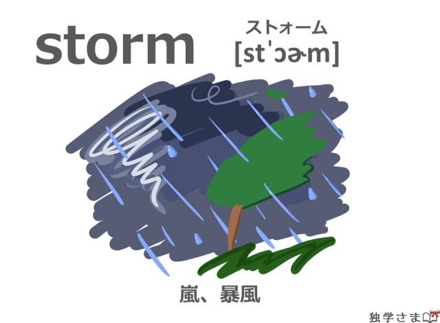 英単語『storm』イラスト・意味