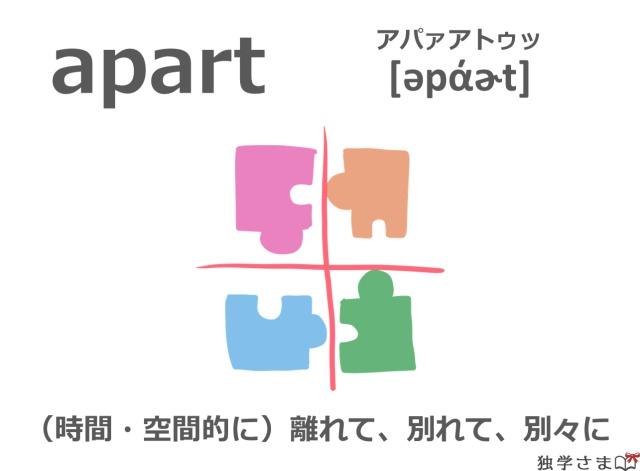 英単語『apart』イラスト・意味