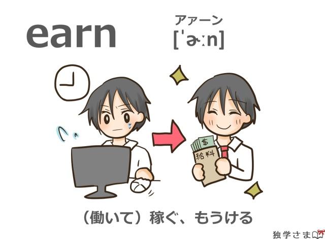 英単語『earn』イラスト・意味