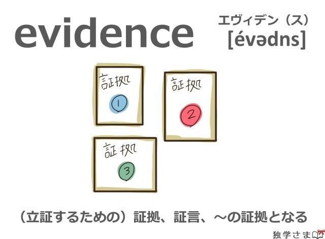 英単語『evidence』イラスト・意味