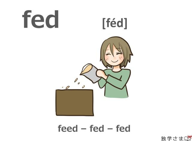 英単語『fed(feed)』イラスト