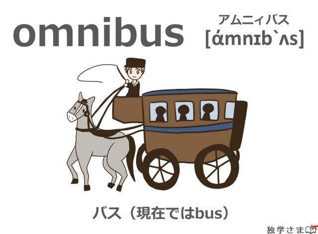 英単語『omnibus』イラスト・意味