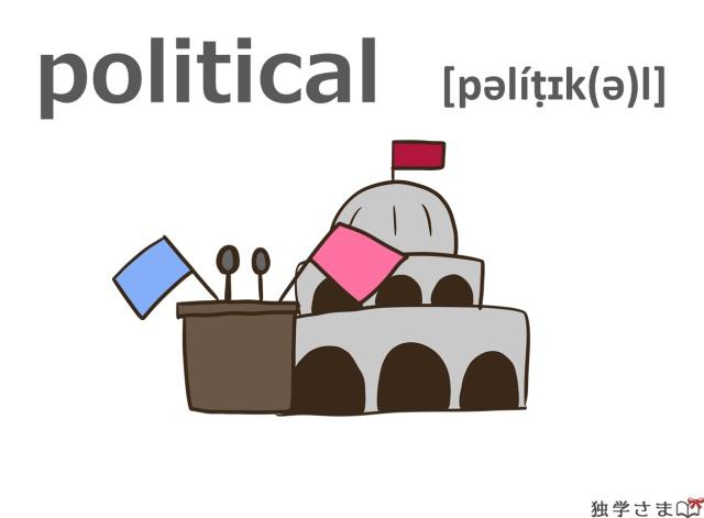 英単語『political』イラスト