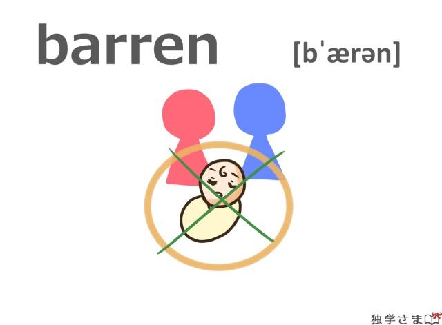 英単語『barren』イラスト