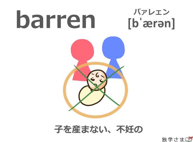 英単語『barren』イラスト・・意味・カタカナ