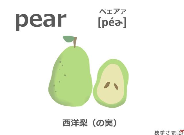 英単語『pear』イラスト・意味・カタカナ