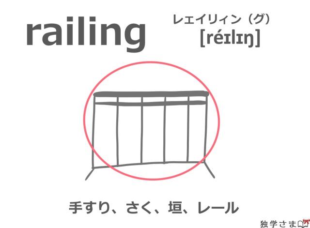 英単語『railing(rail)』イラスト・意味・カタカナ