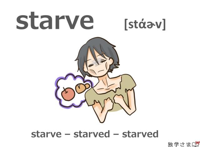 英単語『starve』イラスト
