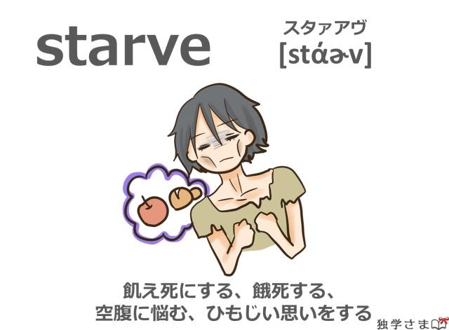 英単語『starve』イラスト・意味・カタカナ