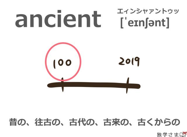 英単語『ancient』イラスト・意味・カタカナ