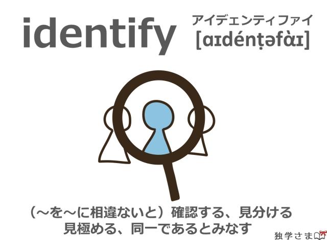 英単語『identify』イラスト・意味・カタカナ