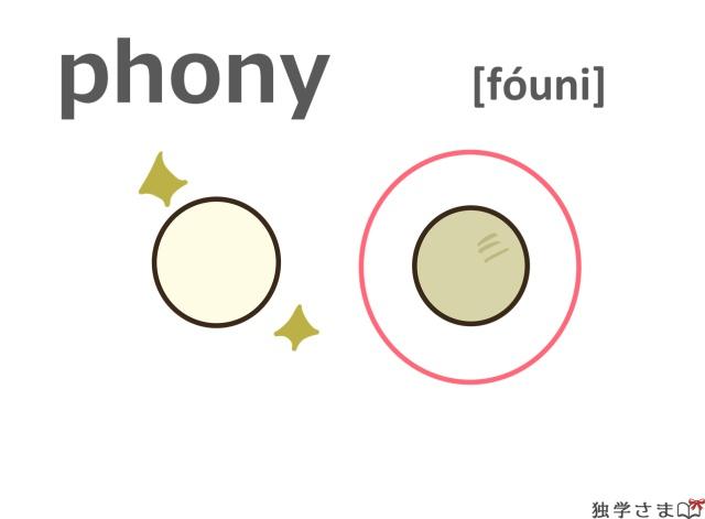 英単語『phony』イラスト