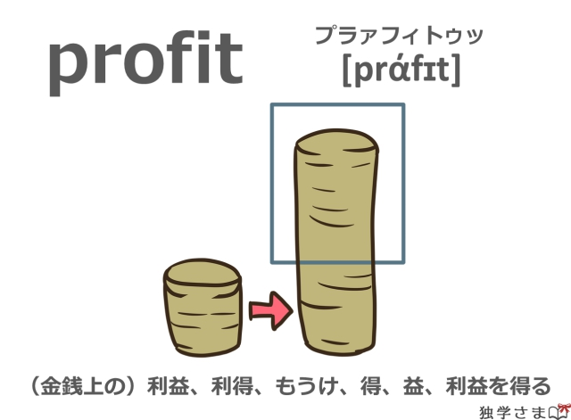 英単語『profit』イラスト・意味・カタカナ