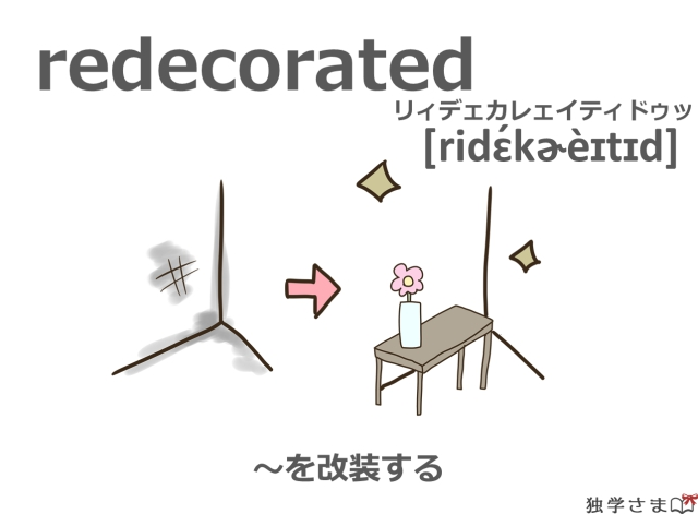英単語『redecorated(redecorate)』イラスト・意味・カタカナ