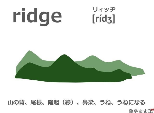 英単語『ridge』イラスト・意味・カタカナ