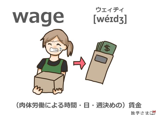 英単語『wage』イラスト・意味・カタカナ