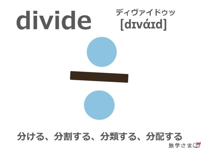 英単語『divide』イラスト・意味・カタカナ