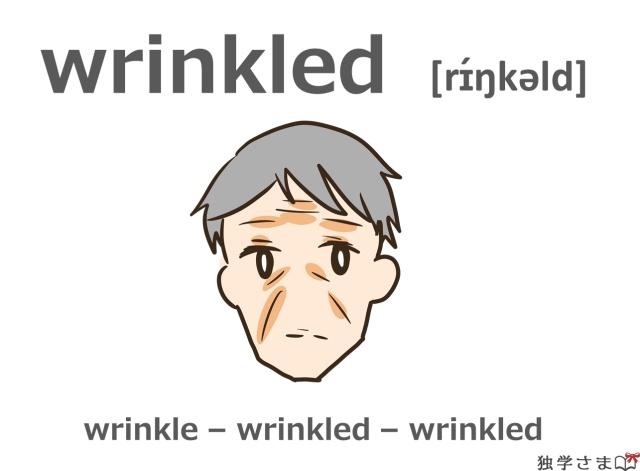 英単語『wrinkled(wrinkle)』イラスト
